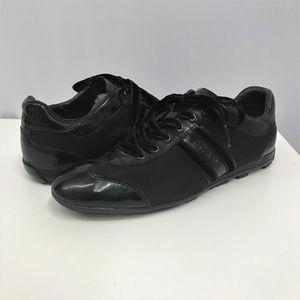 PRADA Black Patent Leather & Nylon Sneakers 37.5